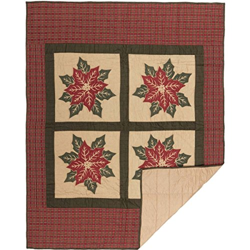 VHC Brands Seasonal Decor National Museum Poinsettia Block Tan Quilted Throw,