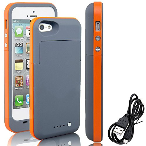 iPhone 5S 5 Battery Case, Rechargeable lightweight 2500mAh Backup energy Bank External Protective Charger instance For iPhone 5S / 5, complete Body Protection,LED Battery level Indicator (Orange)