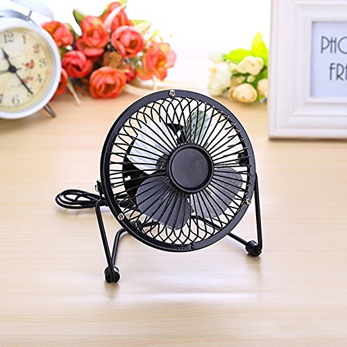NAMEO Mini Personal 360° Rotatable USB Desk Fan, Powered by USB with 1.2m USB Cord, Metal Design+Quiet Operation+Handheld Size+Power Saving (Black)