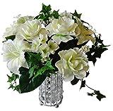 14'' Gardenia/ Lily/Mini Ivy Wedding Bouquet - Cream/Green