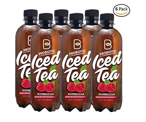 Imported Raw Probiotic Iced Tea Kombucha Ceylon Black Tea Raspberry - 16 oz 6 pack