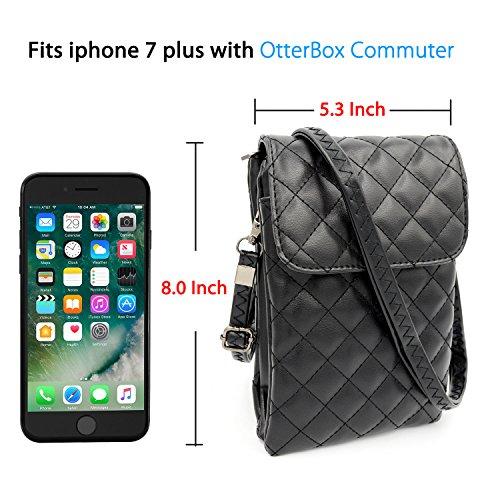 Plus 7 S9 para Teléfono Galaxy S8 Pequeños Niñas S8 8 para de Bolsos Bolsos 8 Negro Sintético iPhone de Plus Mujeres Hombro S9 7 Plus 1 Plus Bolsa Bandolera Cuero de RwTP7xq47