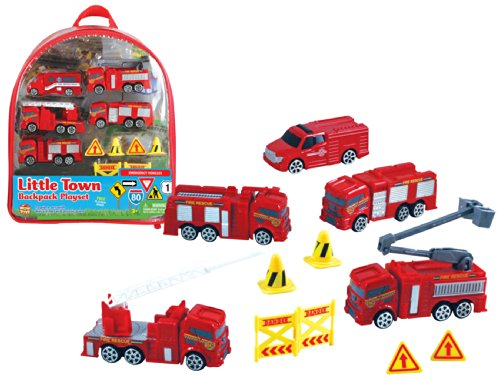 WowToyz Fire Rescue Vehicles Backpack (Engine Playset)