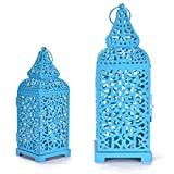 Christmas Metal Cage Set of 2 Blue Candle Stand Perfect for living Room Or Indoor Outdoor Decoration