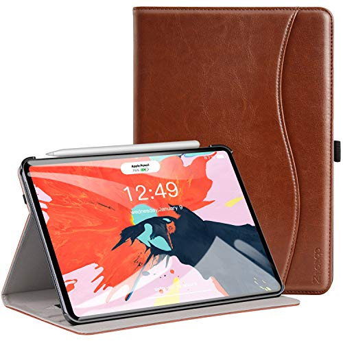 Ztotop Case for iPad Pro 11 Inch 2018 Release, Premium Leather Slim Multiple Viewing Angles Folding Stand Folio Cover with Auto Wake/Sleep (Support 2nd Gen ipad Pencil Wireless Charging), Brown