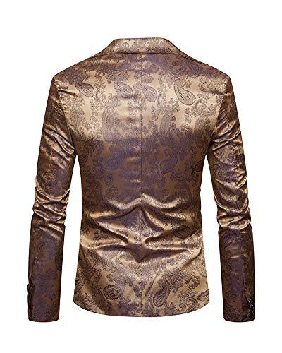 Partie Blazer Or Fit Slim Hommes Tuxedo Costume Mariage Vestes Jacquard De f4Yxwg