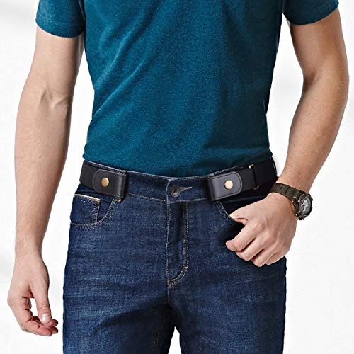 WERFORU WERFORU 4 Pack No Buckle Show Belt for Men Buckle Free Stretch Belt for Jeans Pants 1.38 Inches Wide (A-Black+Coffee+Blue+Gray, Suit for Pants Size 30\