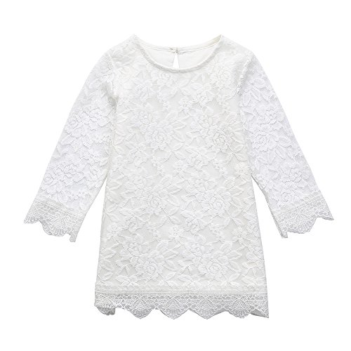 Goodlock Toddler Kids Fashion Dress Baby Girls Long Sleeve Lace Princess Sundress Formal Dress Outfits (Size:3T)
