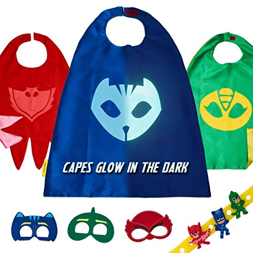 [PJ Masks Costume Kids Toys - Gekko Owlette & Catboy 3 Halloween Party Cape Mask] (Costume Party Run Times)
