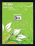 DAX Flat Face Wood Poster Frame, Clear Plastic Window, 18 x 24, Black Border