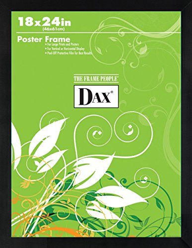 Burnes of Boston DAX Flat Face Wood Poster Frame - Clear Plastic Window - 18 x 24 - Black Border