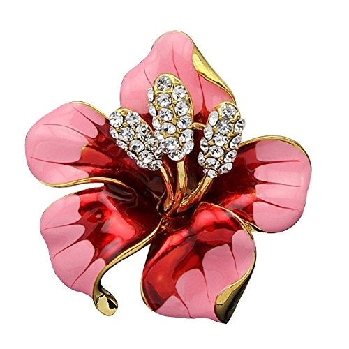 JewelryHouse Fancy Vintage Rose Flower Colourful Women Brooch Pin (Pink)