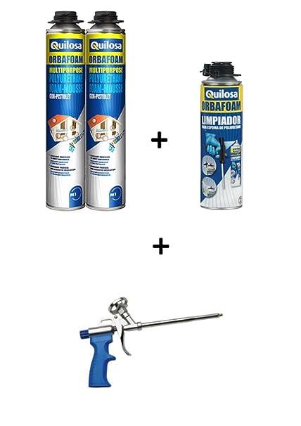 2 espumas expansives Poliuretano Bomba de pistolable 750 ml + 1 pistola + 1 limpiador