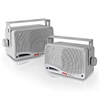 Outdoor Waterproof Wireless Bluetooth Speaker - 3.5 Inch Pair 3-way Active Passive Weatherproof Wall, Ceiling Mount Dual Speakers System w/Heavy Duty Grill, Patio, Indoor Use - Pyle PDWR42WBT (White)