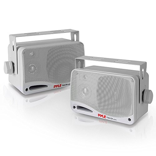 Outdoor Waterproof Wireless Bluetooth Speaker - 3.5 Inch Pair 3-way Active Passive Weatherproof Wall, Ceiling Mount Dual Speakers System w/ Heavy Duty Grill, Patio, Indoor Use - Pyle PDWR42WBT (White)