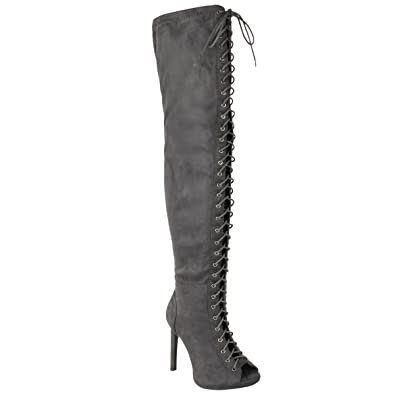Opening Ceremony Woman Cutout Lace-up Suede Over-the-knee Boots Size 36 OSuEUK