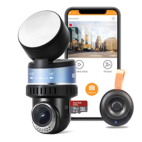 OSBOO Mini Wi-Fi Dash Camera, Android unsupported,Superior 1080P Car Dash Cam,16GB Card Included,Sony Sensor,GPS, Rotated Len Driving Recorder YongHuaShengShi