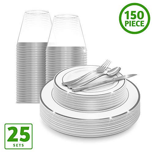 (EcoEarth Silver Plastic Plates with Silverware & Disposable Cups Set (150 Piece Set), Plastic Dinnerware Set Includes 25 Dinner Plates, 25 Salad Plates, 25 Forks, 25 Knives, 25 Spoons, 25 Plastic Cups)