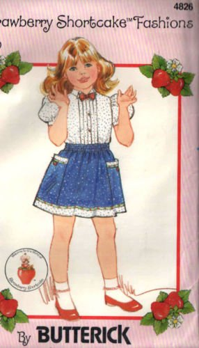 Butterick 4826 Sewing Pattern for Strawberry Shortcake Fashions Pull-on Pocket Trimmed Gathered Skirt and Puff Sleeve Blouse with Tucks and Bow At Collar, Options Girls Sizes 2 3 (Strawberry Shortcake Pattern)