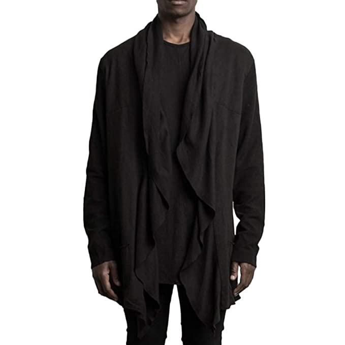 Overdose Camisa De Invierno para Hombres Casual Bolsillo Irregular Trinchera De Manga Larga Outwear OtoñO Cardigan