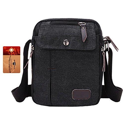 ZLMBAGUS Mens Classic Canvas Messenger Shoulder Bag Unisex Retro Fashion Travel Sports Crossbody Bag Purse Black by ZLM BAG US