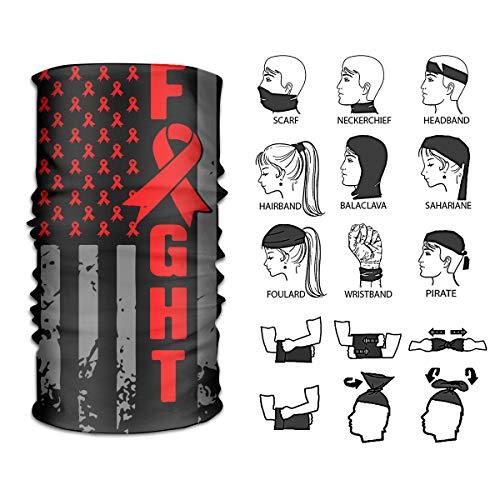 Queendesign American Flag Cancer Awareness Neckwarmer Headwrap Mask Bandana Scarf Head Wrap Sport Headband Sweatband UV Protection Face Bandana Mask 12 in 1 Multi Function