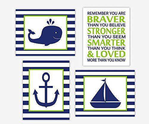 Baby Boy Nursery Wall Art Navy Blue Lime Green Nautical Whale Sailboat  Anchor Remember You Are Braver Bath Decor 4 UNFRAMED PRINTS