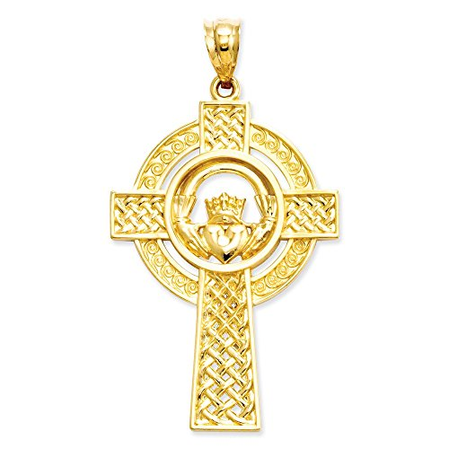 14k Engraveable Cross Pendant - 14k Yellow Gold Solid Polished Flat back Textured back Not engraveable Mens Celtic Claddagh Cross Pendant - Measures 31x22mm