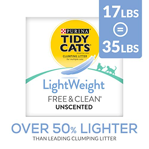Purina Tidy Cats Light Weight, Dust Free, Clumping Cat Litter, LightWeight Free & Clean Unscented, Multi Cat Litter - 17 lb. Box