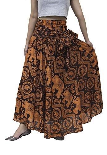 Falda larga Bohemia Lofbaz de cintura alta - lindo estilo Hippie con Flores - Un tamaño para todas las niñas y adolescentes Elephants Naranja