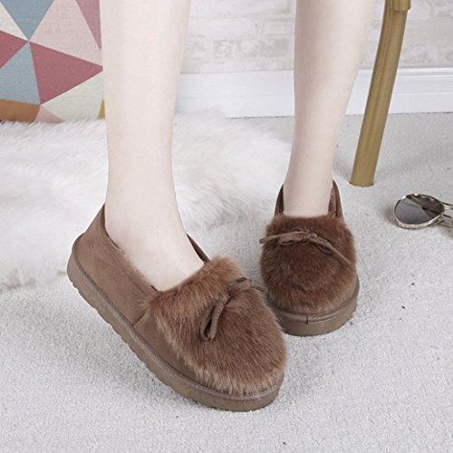 Womens Boots,Clode® Fashion Ladies Girls Boots Flat Ankle Winter Warm Snow Booties Slipper Lazy Shoes Brown