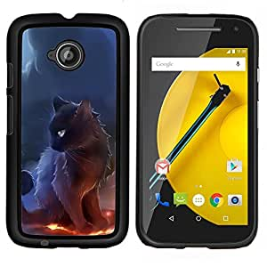 TECHCASE---Cubierta de la caja de protección para la piel dura ** Motorola Moto E ( 2nd Generation ) ** --Negro Majestic Gato