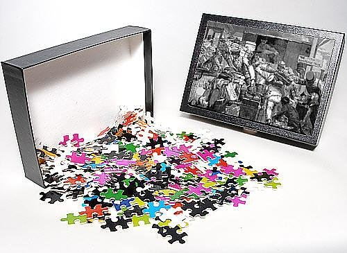 Photo Jigsaw Puzzle of Luggage being moved onto a narrow train