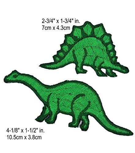 Jurassic World Park Brontosaurus & Stegosaurus 2 Pack Dinosaurs Movie Park Logo T-Rex Tyrannosaurus Rex Raptor Extinct Fossil Embroidered Sew/Iron-on Badge Patches Appliques (Captain Rex Costume Diy)