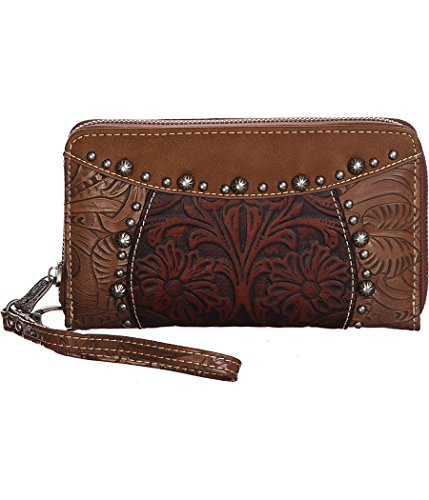 trinity-ranch-tooled-paisley-brown-zip-around-wristlet-wallet