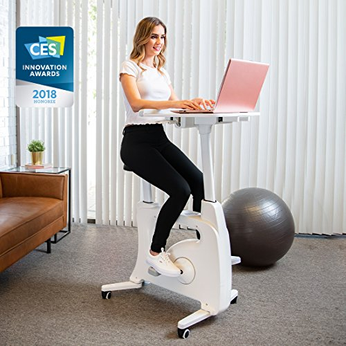 FLEXISPOT Desk Bike Stand up Folding Exercise Desk Cycle Height Adjustable Office Desk Stationary Exercise Bike – Deskcise Pro – 2018 CES Innovation Awards Almost Fully Assemble