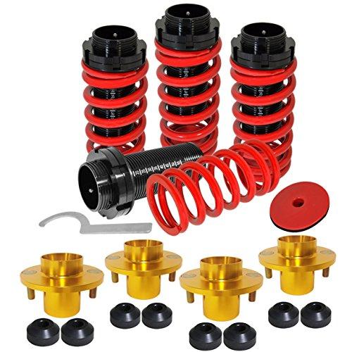 For Honda Civic/Del Sol/CRX & Acura Integra Red Adjustable Suspension Coil Over Springs + Gold Shocks Strut Tower Top Hat - Tower Strut Sol Del