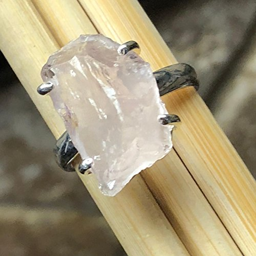 Natural Raw Pink Rose Quartz 925 Soild Sterling Silver Stunning Cluster Ring sz 6