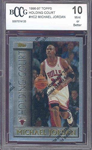1996 97 Topps Holding Court  Hc2 Michael Jordan W Peel Bgs Bccg 10 Graded Card