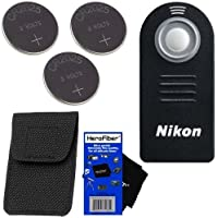 Nikon ML-L3 Wireless Remote Control with Storage Case for D40, D40X, D50, D60, D70, D70S, D80, D90, D600, D610, D3000, D3200, D5000, D5100, D5200, D5300, D7000, & D7100 SLR Digital Cameras, 1 J1, 1 J2, 1 V1, & 1 V2 Compact System Cameras, COOLPIX A, P7000, P7100, P7700 & P7800 Digital Cameras + 3 Replacement Batteries & HeroFiber Ultra Gentle Cleaning Cloth