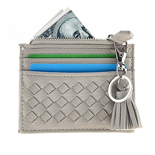 RFID Blocking Genuine Leather Compact Card Wallet Credit Card Case Organizer with Key Ring (Grey) by XeYOU (Image #1)
