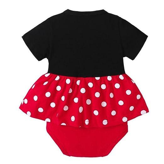 25f2e0e5e9e3 Connia Newborn Infant Fashion Jumpsuit Baby Girls Dot Print Princess Party  Dress Romper Outfits Clothes (