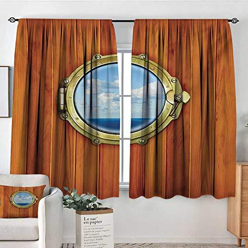 - Mozenou Nautical Room Darkening Curtains Porthole Wooden Background Window Ship Old Sailing Vessel Print Door Curtain Blackout 55
