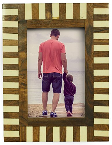 """Valentines Day Gifts for Him - SouvNear 4x6"""" Picture / Photo Frame - Handmade Bone & MDF in Brown & White Stripes - Table-Top / Home Décor / Living Room - Nyc In Frames"""