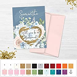 Will You Be My Bridesmaid Proposal Scratch Off Cards Dusty Blue Floral Bridesmaid Gift Idea Wedding Card Custom Be My Maid of Honor Card