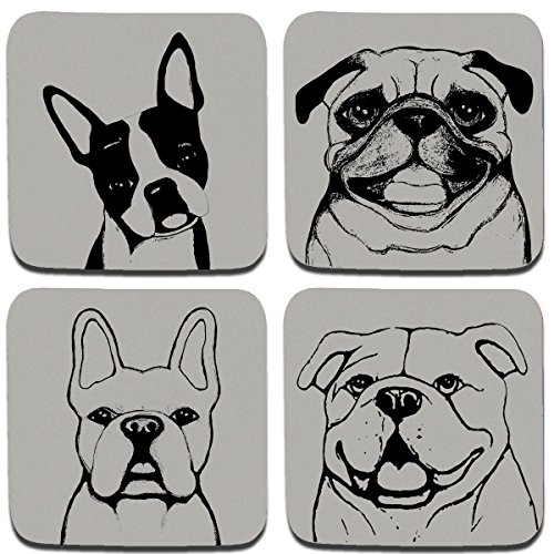 Dog Breeds Coasters (Stubby Nose Dog Breed Coaster Set by Pet Studio Art)