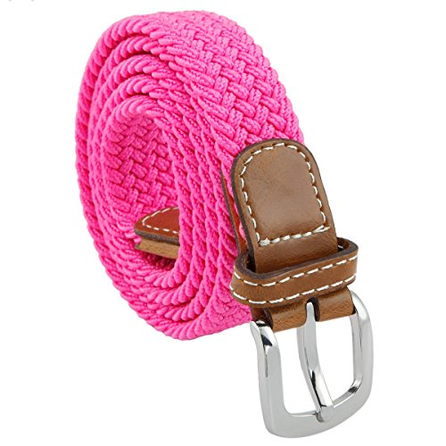 Samtree Braided Belts for Women,PU Leather Skinny Elastic Web Belt(Rose Pink)