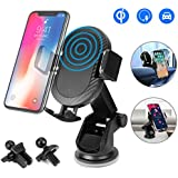 Wireless Car Charger,WU-MINGLU 3 in 1 Car Air Vent Cell Phone Holder with Cradle 10W Qi Fast Charger for Samsung Galaxy S9/9P/S8/8P/S8,S7/S7Edge,Note8 5,iPhone X 8/8 Plus& other Qi Enabled Devices