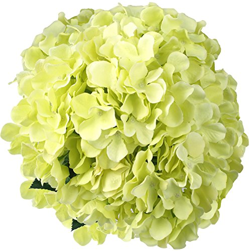 Sticky Foam Garden (Artificial Silk Hydrangea SOLEDI Fake Dried Flower Bush with 7 Mop Heads Flower Bunch Bouquet Home Hotel Wedding Party Garden Floral Decor Hydrangea (Green))