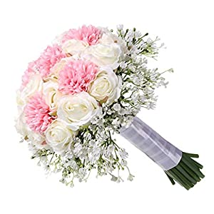 Blueyouth Plastic Bouquet,Bride Wedding White Holding Flowers Plastic Silk Fake Rose Wedding Bouquets 120